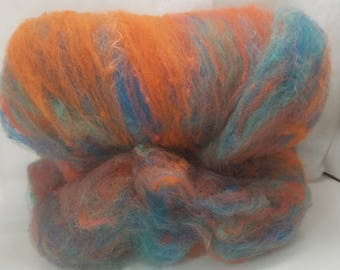 mohair and wool spinning batt