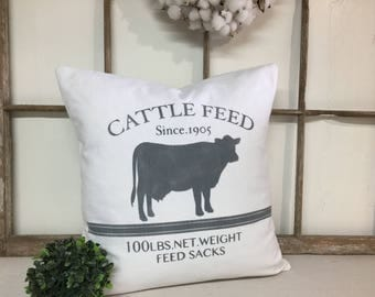 Farmhouse Pillow Cover, Cattle Feed Pillow Cover, White and Gray Pillow Cover, Farmhouse Pillow, Farmhouse Decor, Decorative Pillow, Pillow