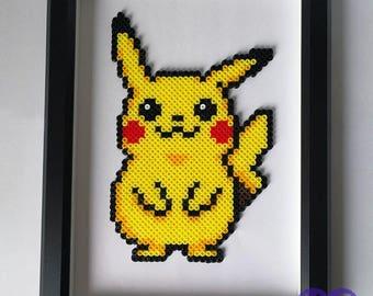 Perler Pikachu Pokemon, Pikachu,8 bit pixel art bead sprite, gifts for kids and gamers, Pokedex, Pokeball, Pokemon Go, Framed art, Bead art