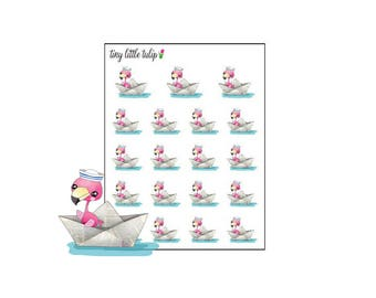 Planner Stickers Flamingo In A Boat