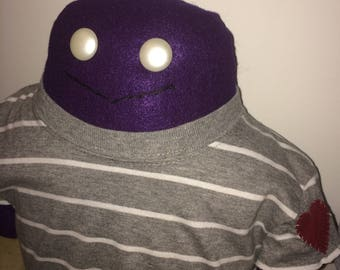 Handmade purple monster He wears his heart on his sleeve