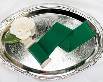 "2"" inch Emerald Green Ribbon on wood spool - Hand Spun Unfinished Raw Edge Ribbon - Bouquet Stationary Invitation Suite evergreen"