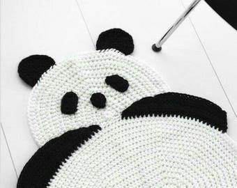 Panda Carpet Children Room Chrochet handmade
