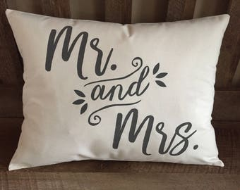 Mr and Mrs Decorative Throw Pillow-Marriage-Wedding Gift-Engagement-Love-Hand Painted-Rustic Chic