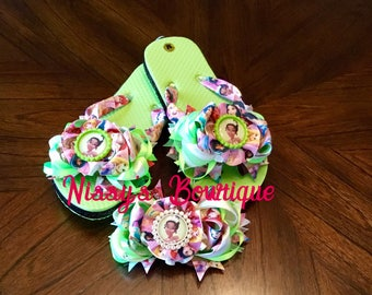 Birthday Theme Tiana (Princess and the Frog) Inspired Flip Flop & Bow Set