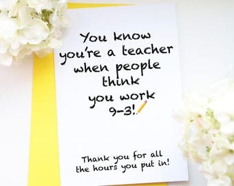 Thank You Teacher Card A Funny Teachers From Parents And Kids Designed To Make