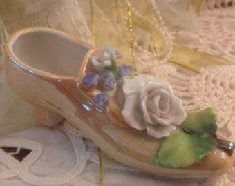 Vintage Porcelain Woman's Shoe With Attached Flowers Hand Painted