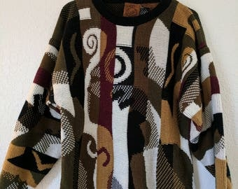 VIntage 80s/90s Funky Stripes Oversized Chunky Knit Sweater - Size M/L