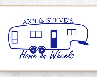 """5th Wheel Camper Personalized Home on Wheels Vinyl Decal (6"""" x 3.1"""")"""