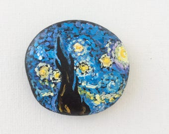 Starry Night Hand painted stone, Van Gogh Rock Painting