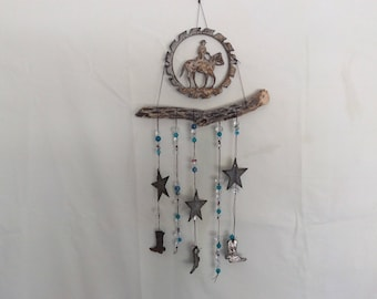 chain link Cholla windchime with Horse and stars and boots
