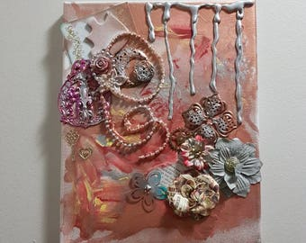 Mixed media bright colored painting