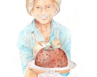 Mary Berry with Christmas Pudding