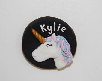 Personalised Unicorn Name Badge - Handmade Polymer Clay