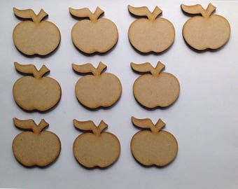 20 x Small Wooden Apple Craft Shapes