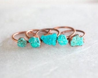 Turquoise ring | Raw turquoise stacking ring | Turquoise stone ring | Raw stone jewelry | Mineral ring | Organic stone jewelry