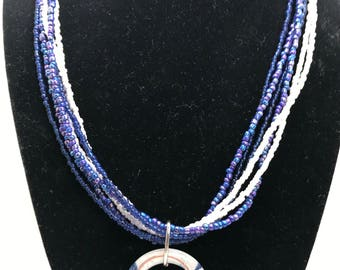Blue and White Stranded Necklace