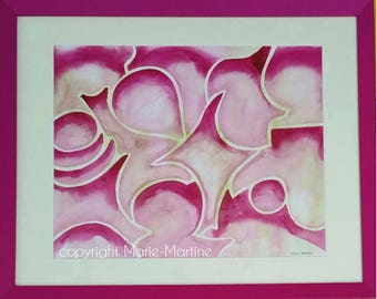 abstract painting watercolor Fuchsia and green on the bottom. Fuchsia frame