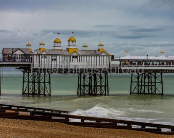 Eastbourne Seaside print on canvas, dramatic sky and sea, light, clouds, digital art, giclee, photographic print, canvas, travel, wall decor