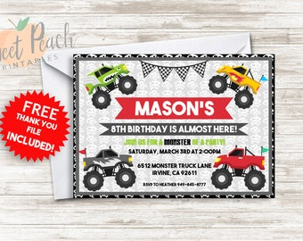 Monster Truck Birthday Invite 5x7 Digital Personalized Lifted Truck Checkered Banner, Skull Background #120.0