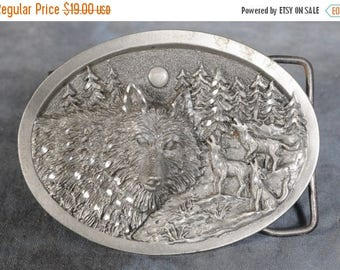 Summer Sale Colorado Silver star belt buckle Wolf head with 3 Howling Wolfs