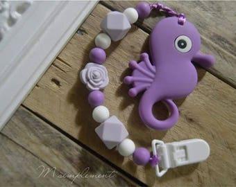 Teething toy clip. [Purple seahorse].