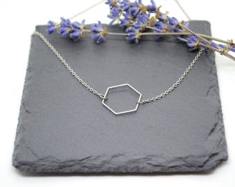 Victoria Necklace - Stainless steel chain and Hexagon pendant