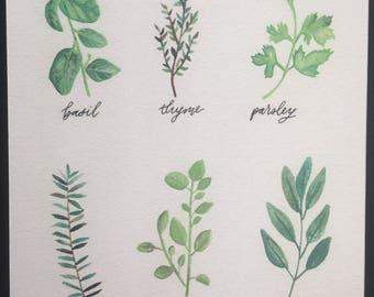 Herbs Print | Watercolor | Kitchen Art | Food