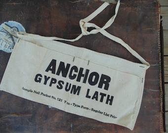 vintage unused canvas nail apron advertising ANCHOR Gypsum Lath deadstock