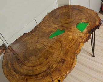 Table illuminated in dark tree glass table solid Oak wood