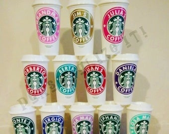 Personalized 16oz Starbucks Cup BPA FREE reusable tumbler / coffee cup with lid.
