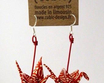 White origami crane arabesque earrings