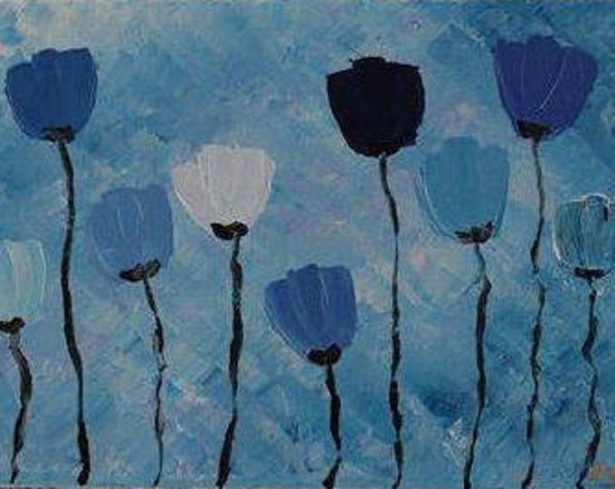 Blue Poppies 32x22cm Original Floral Painting