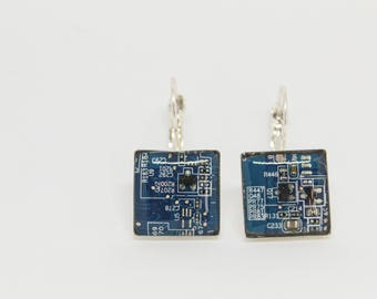 Earrings with recycled motherboard of the computer. Electrical circuits. Gift for her.  Gift Nerd and geek. Choose color.