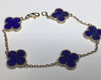 "Estate 18K Yellow Gold Flower Clover Motif Lapis Lazuli Chain 7.25"" Bracelet"