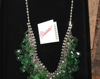 Signed Scaasi runway designer vintage silver tone necklace with green faceted teardrop beads and clear rhinestones in original box