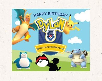 Pokemon GO themed backdrop poster Customized Name  16x20
