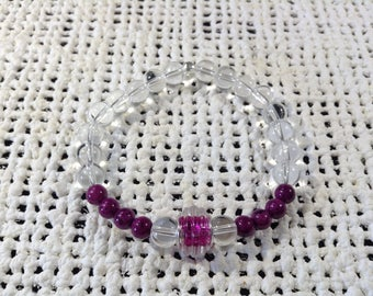 Purple and crystal bead bracelet