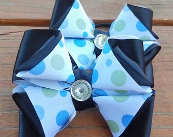 School bows, Set of two bows, Ponytail bows, Pigtail bows, Polk-a-dots bows