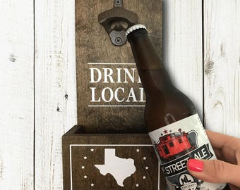 Drink Local Wall Mounted Bottle Opener and Catch