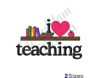 I Love Teaching Bookshelf - Machine Embroidery Design