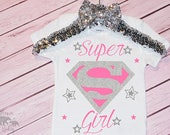Baby Girl's Super Girl Onesie, Girls Super Hero Shirt, Super Girl Shirt, Girl Superman Shirt, Super Girl Star Shirt, Super Girl Costume