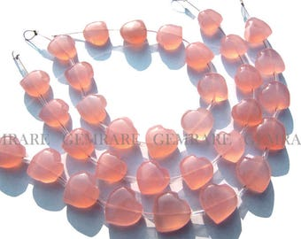 Natural Pink Chalcedony beads,  Valentine Heart Smooth beads, Quality AAA, 12 to 13 mm, 18 cm, 11 pieces, CHALC-024/1, Semiprecious stone