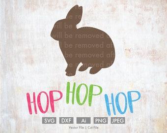 Hop Hop Hop Bunny Easter - Cut File/Vector, Silhouette, Cricut, SVG, PNG, Clip Art, Download, Holidays, Easter Eggs, Spring, Rabbit