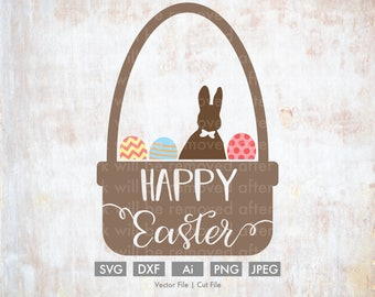 Easter Basket Happy Easter - Cut File/Vector, Silhouette, Cricut, SVG, PNG, Clip Art, Download, Holidays, Easter Eggs, Spring, Rabbit, candy