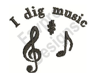 I Dig Music - Machine Embroidery Design