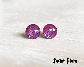 Sparkle purple stud earrings, Small purple earrings, Dark purple earrings, Hypoallergenic earrings, Ear Sugar earrings, Little round Studs
