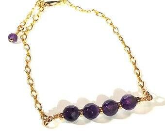 Gold and Amethyst Bracelet