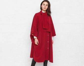 Vintage Red Coat Cape/ Size XL