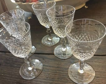 Antique Crystal Etched Sherry Glasses.  Antique Diamond and Laurel Sherry Cordials.